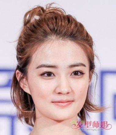 女生女生扎发际头的屏幕,将短发线上的头发梳的靠后一些,半扎发型头适合的大多丸子丸子图片