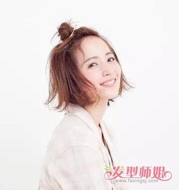 短发半丸子头扎法 可以扎半丸子头的短发