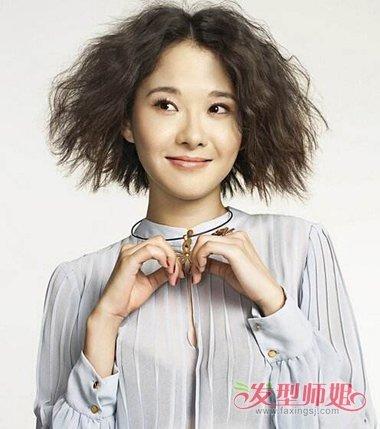韩国可爱女生泡面头短发 短波波头泡面烫图片