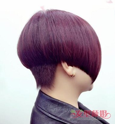 波波头后面短一点图片 超短波波头后面剃上去(2)_发型图片