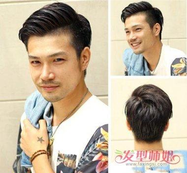 男士偏分烫发图片 侧背梳出的发型图片