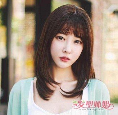 女生空气刘海梨花头中长发发型 2019女生齐肩梨花头发型图片