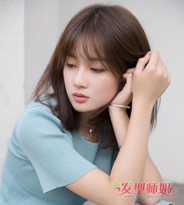 锁骨直发配什么刘海 女生刘海锁骨发发型图片大全图片
