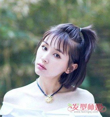齐刘海苹果头扎法教程 齐刘海怎么扎苹果头图片