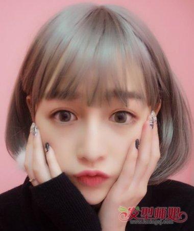 女生空气刘海梨花头短发发型 女生中分内扣披肩梨花头图片