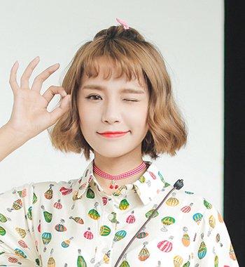 圆脸二次元刘海苹果头扎发发型图片