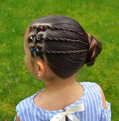 儿童长发丸子头扎发发型图片