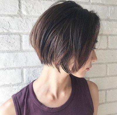 头发多而且不耐烦打理头发的女生,这款2018年流行的日系女生内扣短发图片