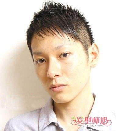 男生剃鬓角斜刘海短发发型图片