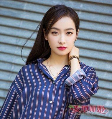 宋茜最新八字刘海发型 女生八字刘海中长发发型图片图片