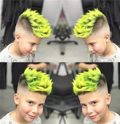 先来欣赏一款儿童的非主流染发造型, 短发将耳朵上方的发丝做了渐变图片