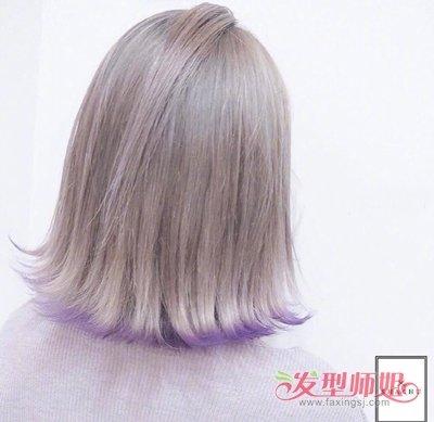 发型设计 染发 >> 2018最火女生短发裙摆染发范例 原来短发还能这么染