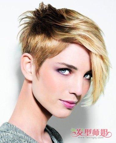 方脸偏分短发沙宣发型,哪怕是沙宣烫短发,剃鬓角的款式依然合拍.图片