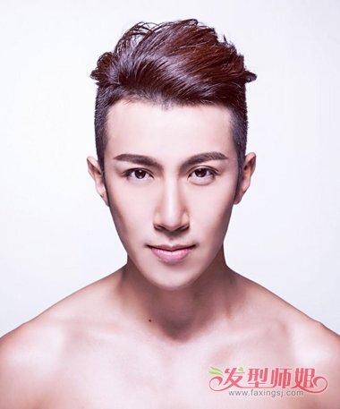 发顶上的头发顺着头型拢到后侧,男生剃鬓角后梳的发型,是要控制发丝图片