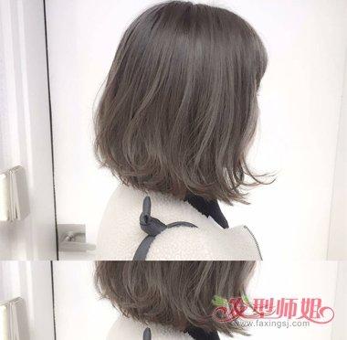 齐肩外卷头发染时尚发色 c烫短发炫清纯校园风格