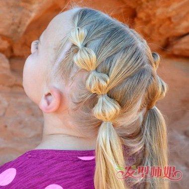发型设计 儿童发型 >> 心形脸小孩子扎辫子发型 过节日的胖女童编发