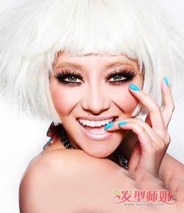 银白头发剪空气刘海适合吗 长脸女生剪出的短头发造型图片