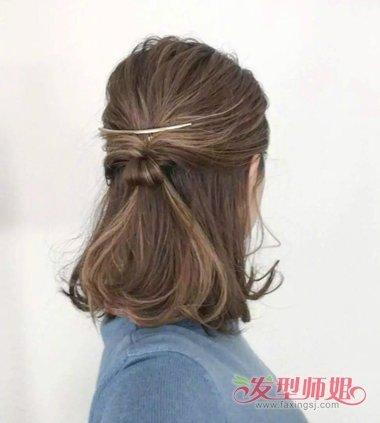 女生中长发半扎发发型图片