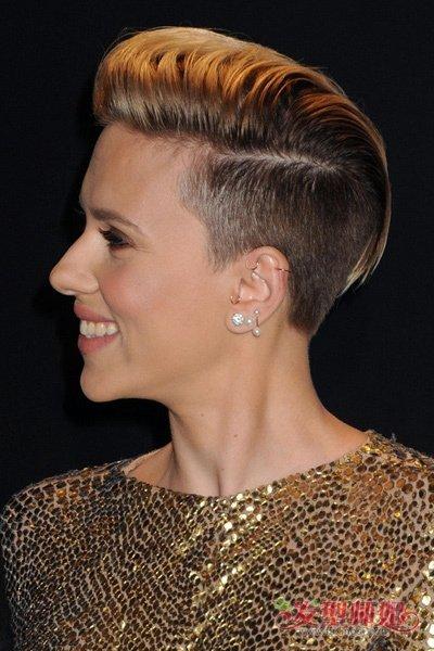 什么脸型适合两边铲造型  欧美风格的女生微 卷发,直接把后脑勺头发剃图片
