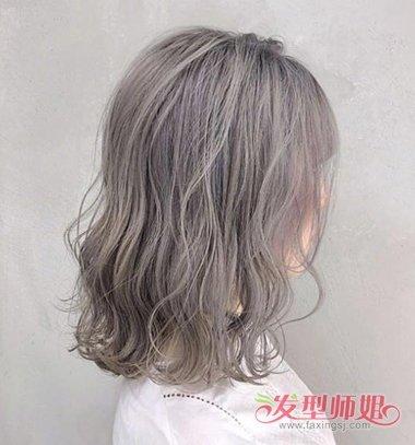 女生过肩青木亚麻灰色烫发发型