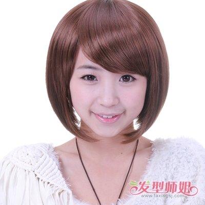 头发粗硬怎样剪短头发好看 圆脸女生如何打理直头发图片