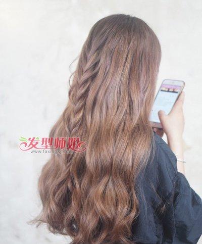 长发淑女唯美编发半扎发发型二图片