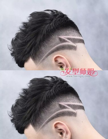 男生刻痕渐变式寸头短发发型图片