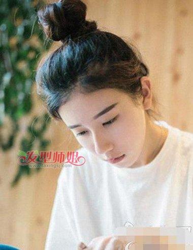 给人带来清纯淑女气息的造型,活跃出日韩风范的女生扎冲天 辫子发型图片