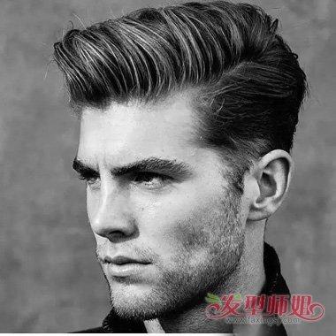 国外男生短头发梳背头造型设计图片