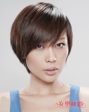 女生短头发剪斜刘海帅气发型示范