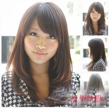 女生中长发制作内扣发型 推出适合于学生的内扣头发展示图片