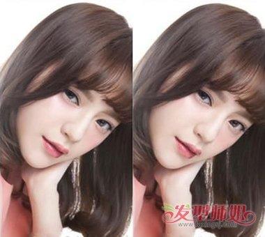流行发型 刘海 >> 巧手女孩能自己做内扣刘海 中长发有微内扣空气刘海图片