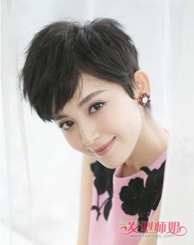 女生短头发剪斜刘海甜美造型图片