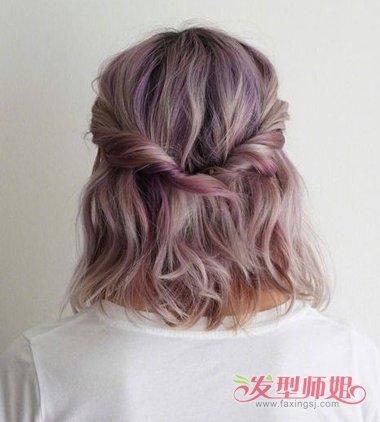 >> 都是简单的中短发扎发教程 发型大师用色彩给齐肩扎发点睛  中长发