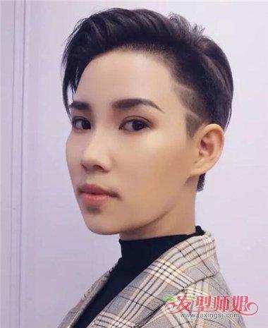 2018女生短发雕刻图案霸气造型 线条感刻痕头发变潮男图片