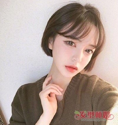 女生空气刘海齐耳短发发型图片
