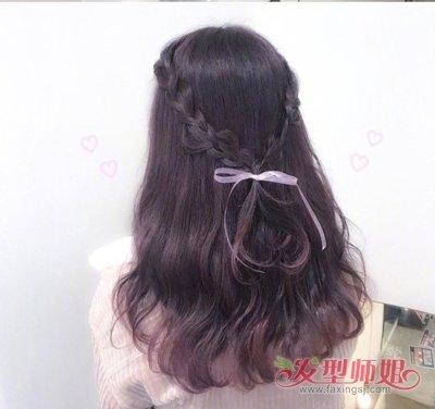 一根丝带完成的编发超仙儿 长发女生简约清新版半编发造型