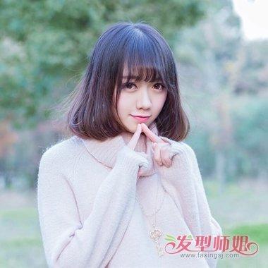 小女生制作内扣直刘海发型图片 学生齐肩直短发内扣打理出美丽图片