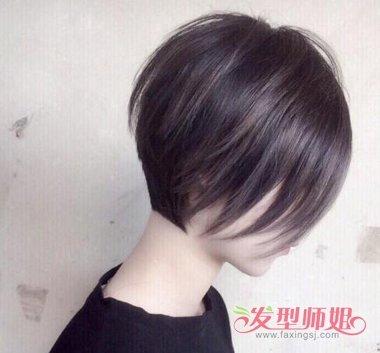 那么就将后脑头发打薄处理,比如这位女生梳的 沙宣波波头短发发型图片
