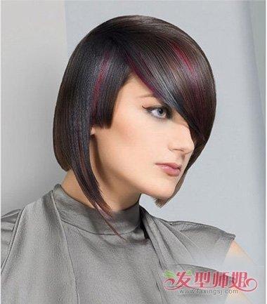 侧分 刘海是紧跟时代,挑染出的头发颜色,显示着肌肤亮白时尚,后脑勺图片