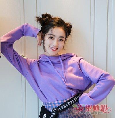 祝绪丹哪吒头+紫色卫衣变甜蜜少女 祝绪丹最新扎发少女心爆棚
