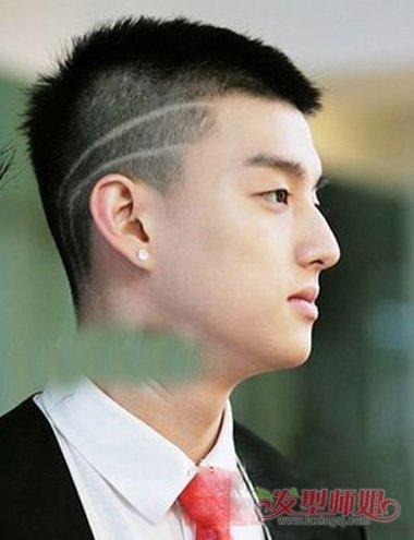 男生发型 男生短发 >> 男生帅气头发侧面刻痕图案大全 怎样搭剃出的寸图片