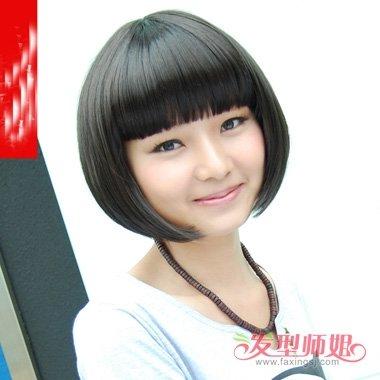 日韩式短直发分分钟搞定时尚流行 个性刘海尽显灵动气息的发型图片