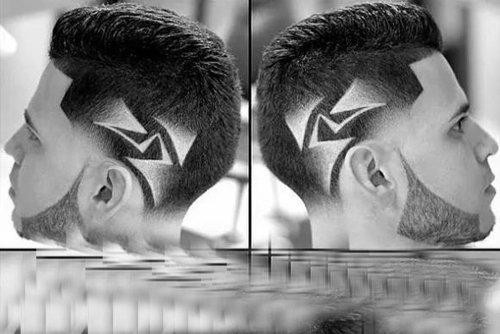 时尚帅酷男生2018世界杯体育投注网站侧面刻痕发型 遇见自己帅气型刻痕图案潮图片