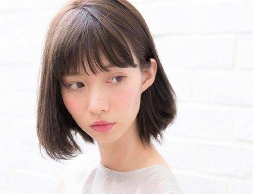 女生空气刘海碎发露耳短发发型图片