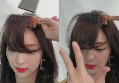 垫发根调走向卷梳的好处多多  同样是 卷发发型,但因为刘海不一样图片