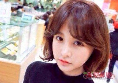 女生中分刘海内扣短发发型图片