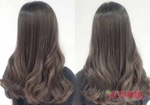女生后梳长发发尾螺旋卷发型图片