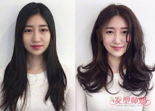 女生中分外翘中长发发型图片