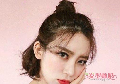 女生八字刘海短发半扎发发型图片